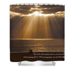 Inspirational Sun Rays Over Calm Ocean Clouds Bible Verse Photograph Shower Curtain