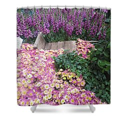 Shower Curtain featuring the photograph Interior Decorations Butterfly Gardens Vegas Golden Yellow Purple Flowers by Navin Joshi