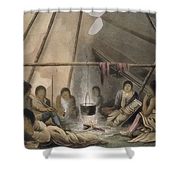 Interior Of A Cree Indian Tent, 1824 Shower Curtain by Lieutenant Hood