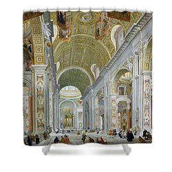 Interior Of St Peters In Rome Shower Curtain by Giovanni Paolo Panini