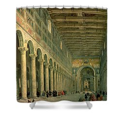 Interior Of The Church Of San Paolo Fuori Le Mura Shower Curtain by Giovanni Paolo Panini
