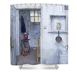 Interior With Red Jug Shower Curtain by Charles E Hardaker