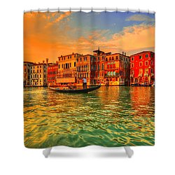 Into The Sunset Shower Curtain by Midori Chan