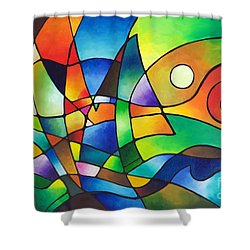 Into The Wind Shower Curtain by Sally Trace