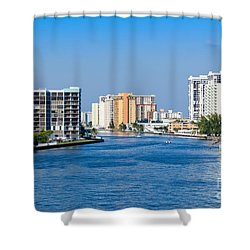 Intracoastal Waterway In Hollywood Florida Shower Curtain by Les Palenik