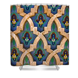 Intricate Zelji At The Hassan II Mosque Sour Jdid Casablanca Morocco Shower Curtain