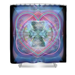 Intwined Hearts Chalice Wings Of Vortexes Radiant Deep Synthesis Shower Curtain