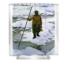 Shower Curtain featuring the photograph Inuit Seal Hunter Barrow Alaska July 1969 by California Views Mr Pat Hathaway Archives