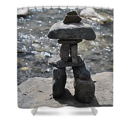 Inukshuk By The Water Shower Curtain
