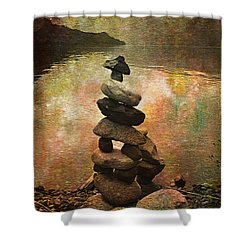 Inukshuk - Northern Lights Night Shower Curtain by Kathy Bassett