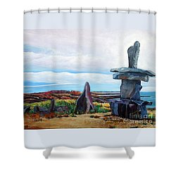 Inukshuk Shower Curtain by Marilyn  McNish