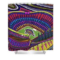 Invesco Field - Stegasaurus Stadium Shower Curtain by Robert SORENSEN