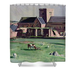 Iona Abbey From The Northwest Shower Curtain by Francis Campbell Boileau Cadell