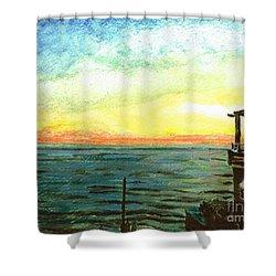 Shower Curtain featuring the painting Ionian Sea Zanti Greek Island by Teresa White