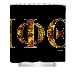 Shower Curtain featuring the digital art Iota Phi Theta - Black by Stephen Younts