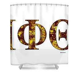 Shower Curtain featuring the digital art Iota Phi Theta - White by Stephen Younts