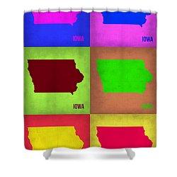 Iowa Pop Art Map 2 Shower Curtain by Naxart Studio