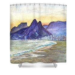 Sugarloaf Mountain And Ipanema Beach At Sunset Rio Dejaneiro  Brazil Shower Curtain