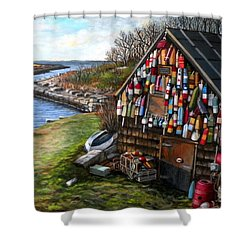 Ipswich Bay Wooden Buoys Shower Curtain