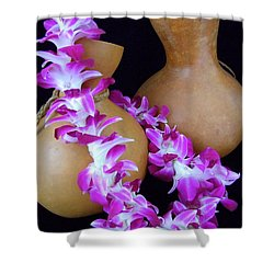 Ipu And Orchid Lei Shower Curtain by Mary Deal