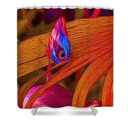 Iridescent Owl Butterfly On Red Leaves  Shower Curtain