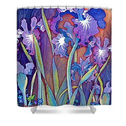 Shower Curtain featuring the mixed media Iris Bouquet by Teresa Ascone