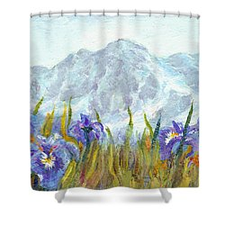 Iris Field In Alaska Shower Curtain by Karen Mattson