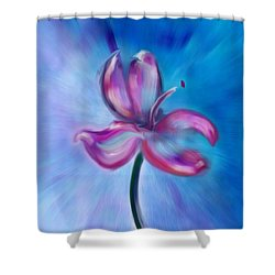 Shower Curtain featuring the digital art Iris In Pastel by Frank Bright