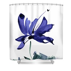 Iris In The Greenery Watercolor Shower Curtain