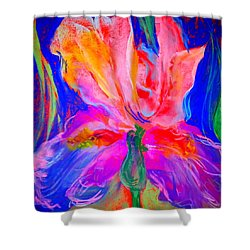 Funky Iris Flower Shower Curtain