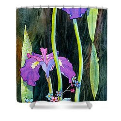 Shower Curtain featuring the painting Iris Tall And Slim by Teresa Ascone