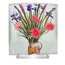 Irises And Berbera In A Dutch Jug Shower Curtain by Christopher Ryland