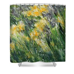 Shower Curtain featuring the painting Irises by Jane See