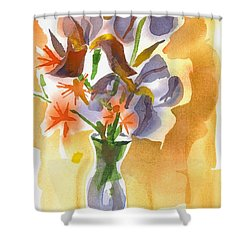 Irises With Stars Of Bethlehem Shower Curtain by Kip DeVore