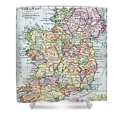 Irish Free State And Northern Ireland From Bacon S Excelsior Atlas Of The World Shower Curtain by English School