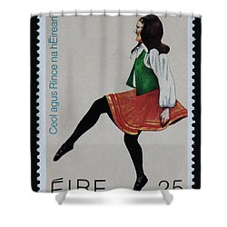 Irish Music And Dance Postage Stamp Print Shower Curtain
