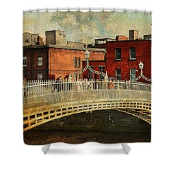 Irish Venice. Streets Of Dublin. Painting Collection Shower Curtain by Jenny Rainbow