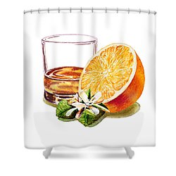 Shower Curtain featuring the painting Irish Whiskey And Orange by Irina Sztukowski