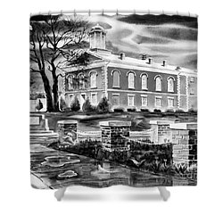 Iron County Courthouse IIi - Bw Shower Curtain by Kip DeVore