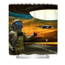 Ironic Number Four - Hitchhiker Shower Curtain by Bob Orsillo