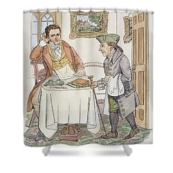 Shower Curtain featuring the painting Irving & Knickerbocker by Granger