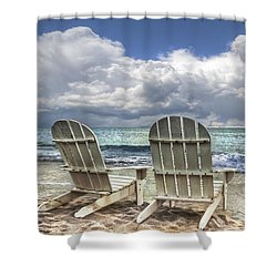 Island Attitude Shower Curtain by Debra and Dave Vanderlaan