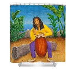 Island Beat Shower Curtain by Pamela Allegretto