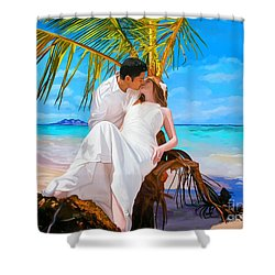 Shower Curtain featuring the painting Island Honeymoon by Tim Gilliland