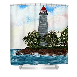 Island Lighthouse Shower Curtain by Barbara Griffin