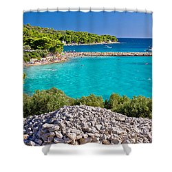 Island Murter Turquoise Lagoon Beach Shower Curtain