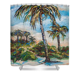 Island Palms Shower Curtain by Linda Olsen