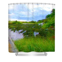 Island State Park Boardwalk Shower Curtain
