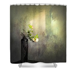 Isn't It Romantic Shower Curtain by Theresa Tahara