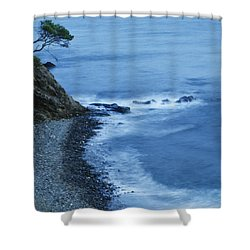 Isolated Tree On A Cliff Overlooking A Shower Curtain by Ken Welsh